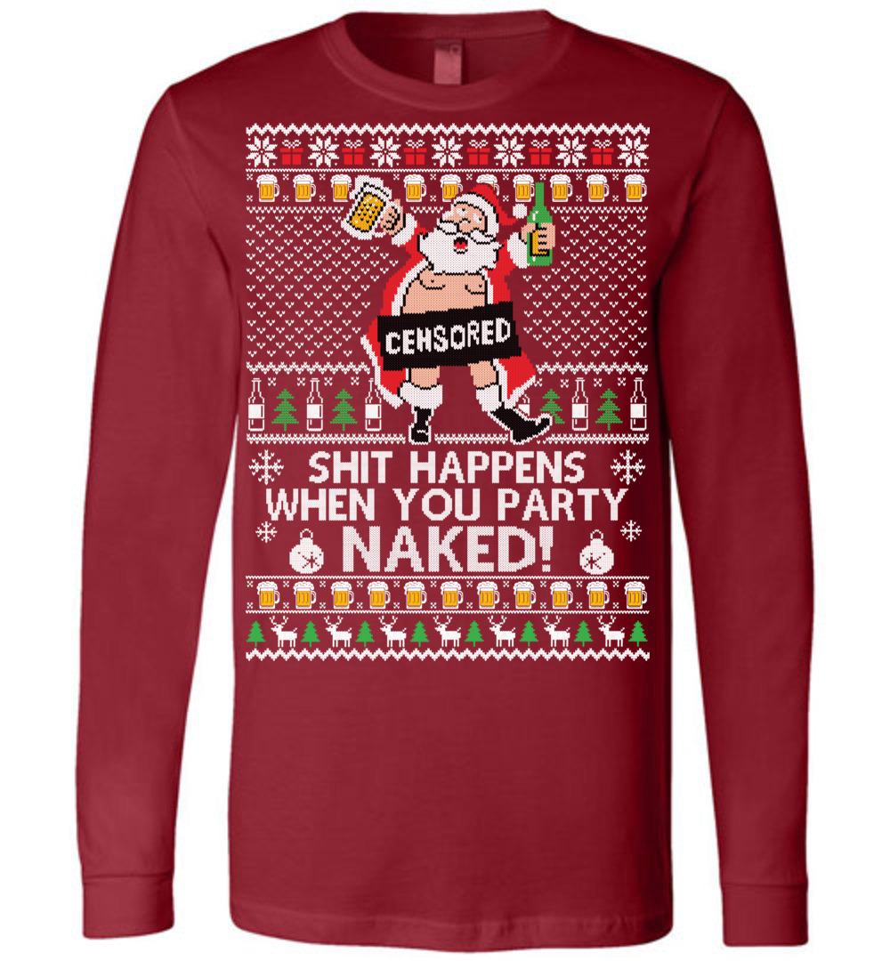 5c6c6bebd Santa Party Naked Ugly Christmas Canvas LS T-Shirt - The Wholesale ...