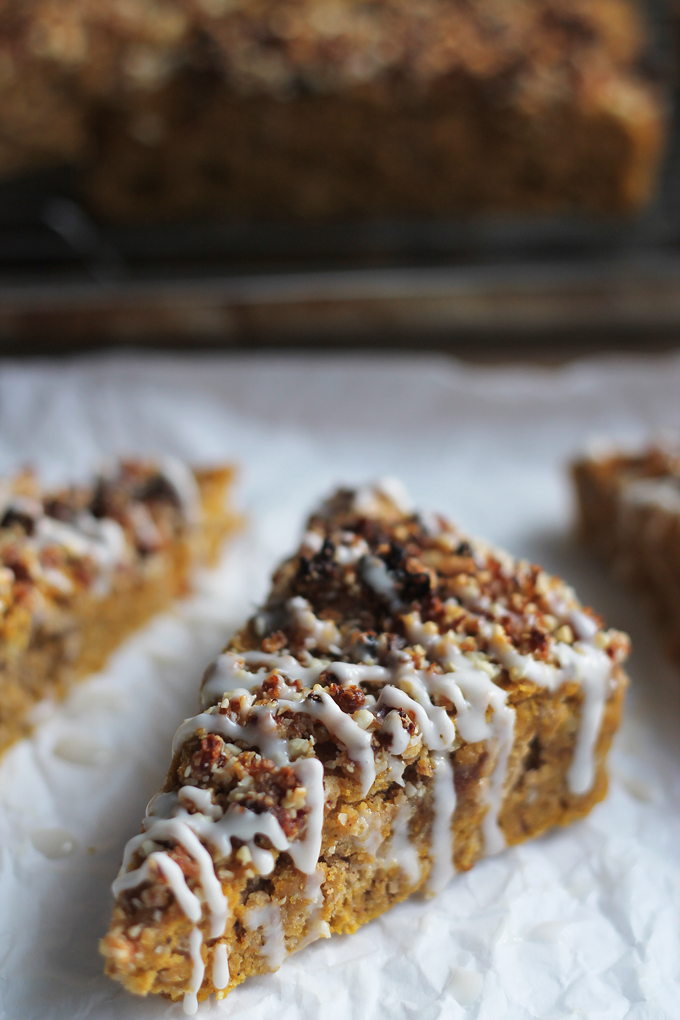 Close-up of Pumpkin-Date-Bread with coconut glaze