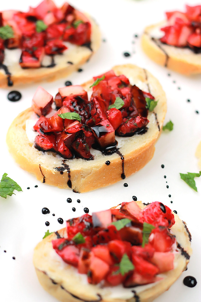 Strawberry Peach Bruschetta, take a break from the traditional and add a bit of sweet to your Bruschetta.