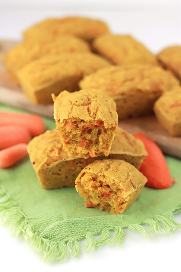 Savory Carrot Muffins, tender, slightly sweet, and simply delicious. A perfect companion to a bowl of soup.