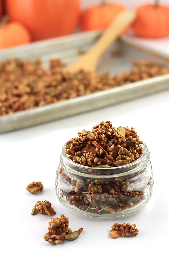 Sweet crispy Buckwheat Pumpkin Clusters a perfect anytime snack.