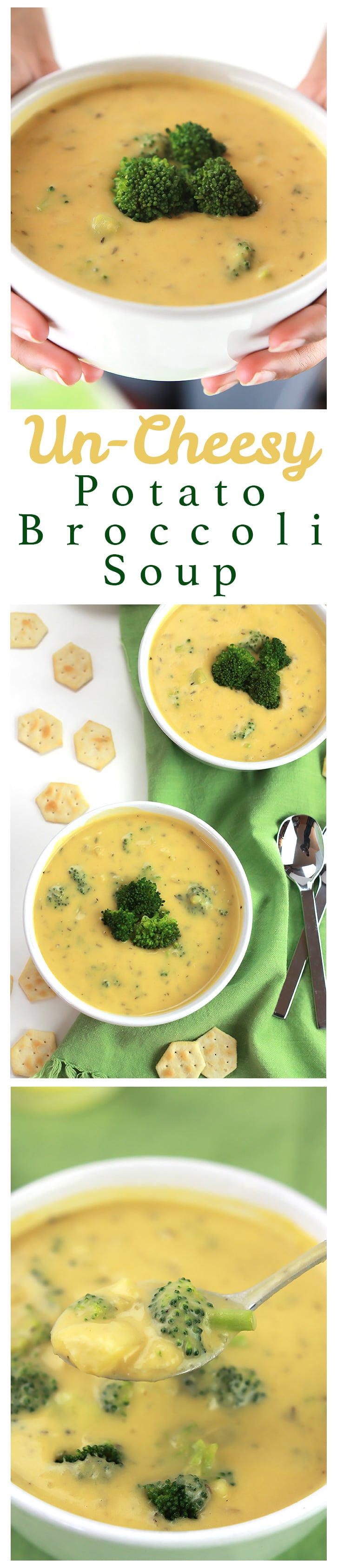 Rich and hearty, this Un-Cheesy Potato & Broccoli Soup is full of flavor and comes together in minutes!