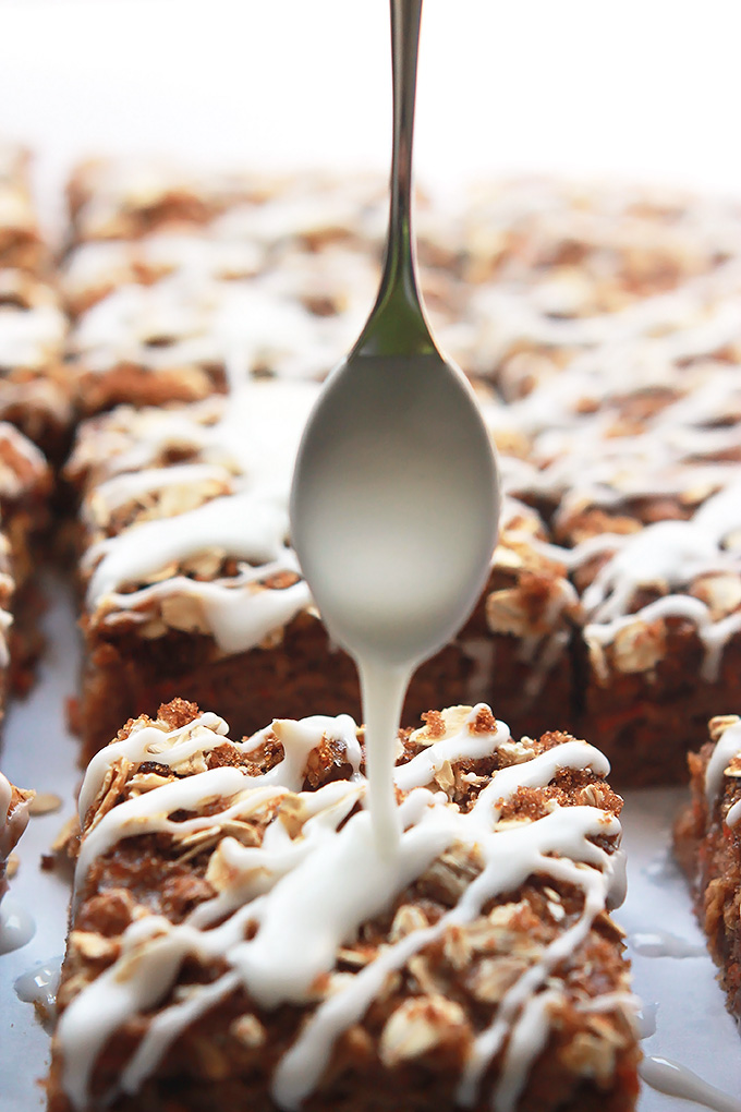 Carrot for breakfast, why not when they're in these moist delicious Carrot Cake Bars topped with brown sugar, oats and a sweet citrus glaze.