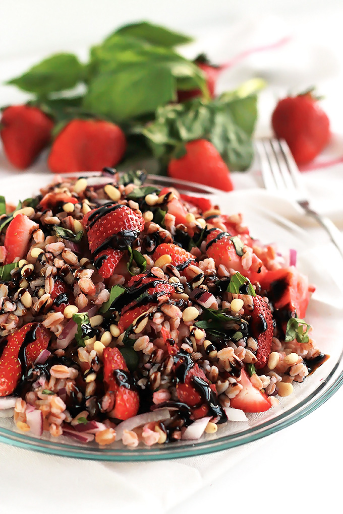 Strawberry basil farro salad on plate.