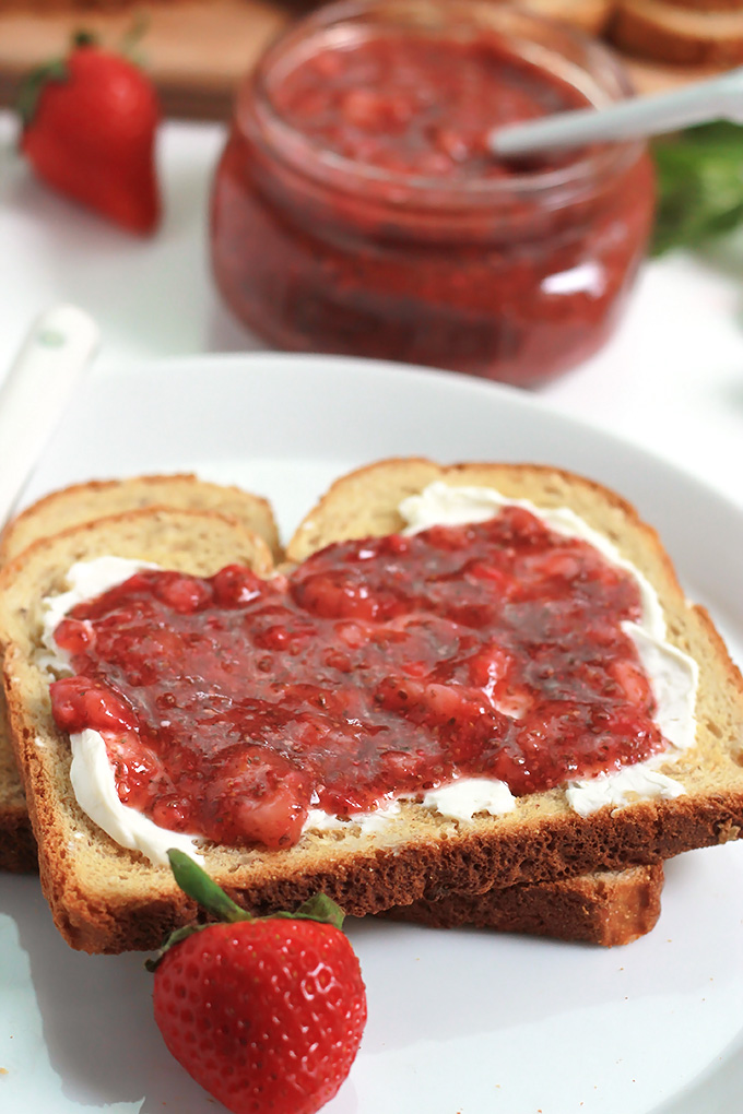 No-Cook Strawberry Mint Chia Jam-filled with flavors of lemon and mint. Takes only minutes to make and no stove required.