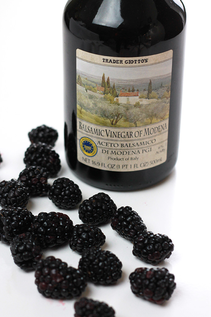 This Blackberry Balsamic Glaze is rich, smooth and creamy, lightly sweetened with maple syrup and loaded with plump juicy blackberries. Delicious on just about anything.