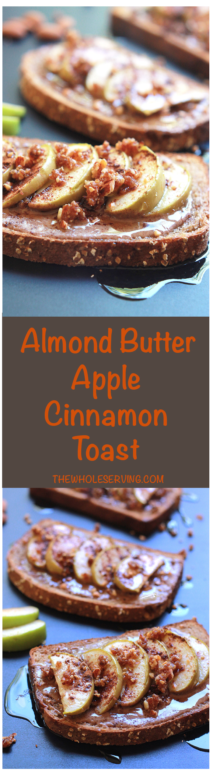 Think Cinnamon toast, but with almond butter, apple slices a touch of sweetness from an almond date crumble and a final drizzling of agave. Almond Butter Apple Cinnamon Toast is my twist on an old after-school favorite.