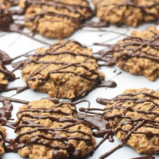Nut Butter Oatmeal Cookies Drizzled with Chocolate
