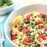 Lemon Caper Pasta with Grape Tomatoes