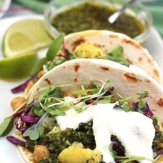Cauliflower-Chickpea Tacos with Spicy Cilantro Sauce