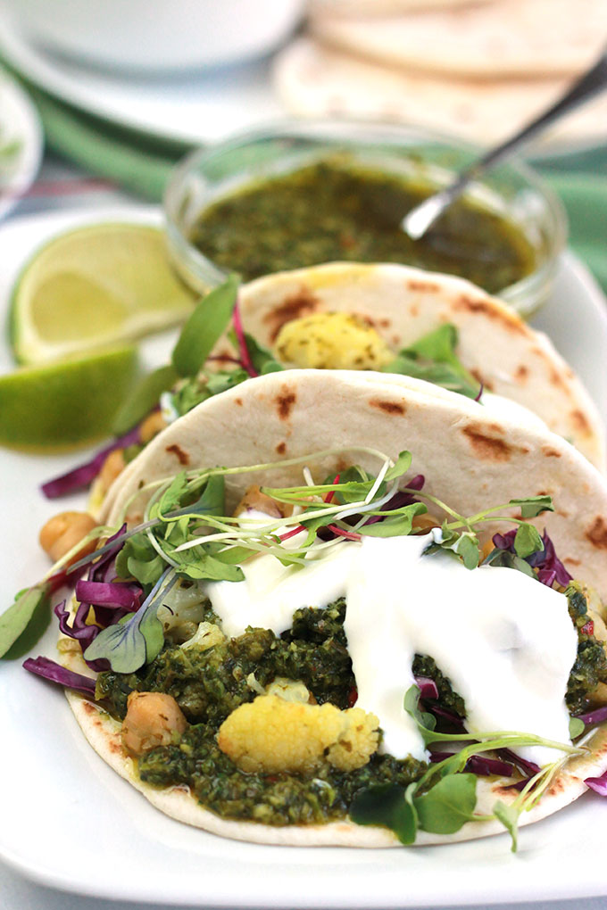These Cauliflower-Chickpea Tacos with Spicy Cilantro Sauce is loaded with bold flavor and they're perfect when you need a quick and easy meal.