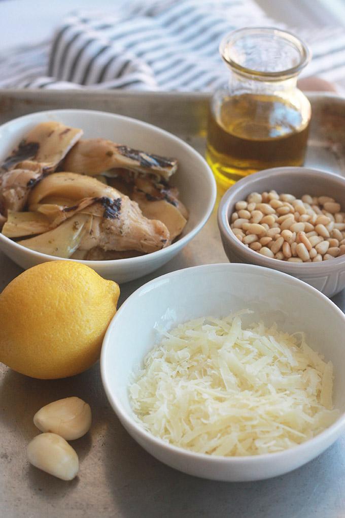 Ingredients for artichoke pesto.