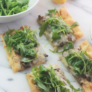 Mushroom Pizza with Artichoke Pesto and Arugula