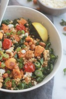 Ready for a supercharged, healthy, hearty salad?  You're going to love this salad made with tender Israeli Couscous, roasted tomatoes, sweet potatoes and chickpeas tossed with seasoned fresh kale.