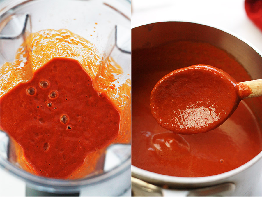 Red chile sauce in blender and red chile sauce in saucepan.