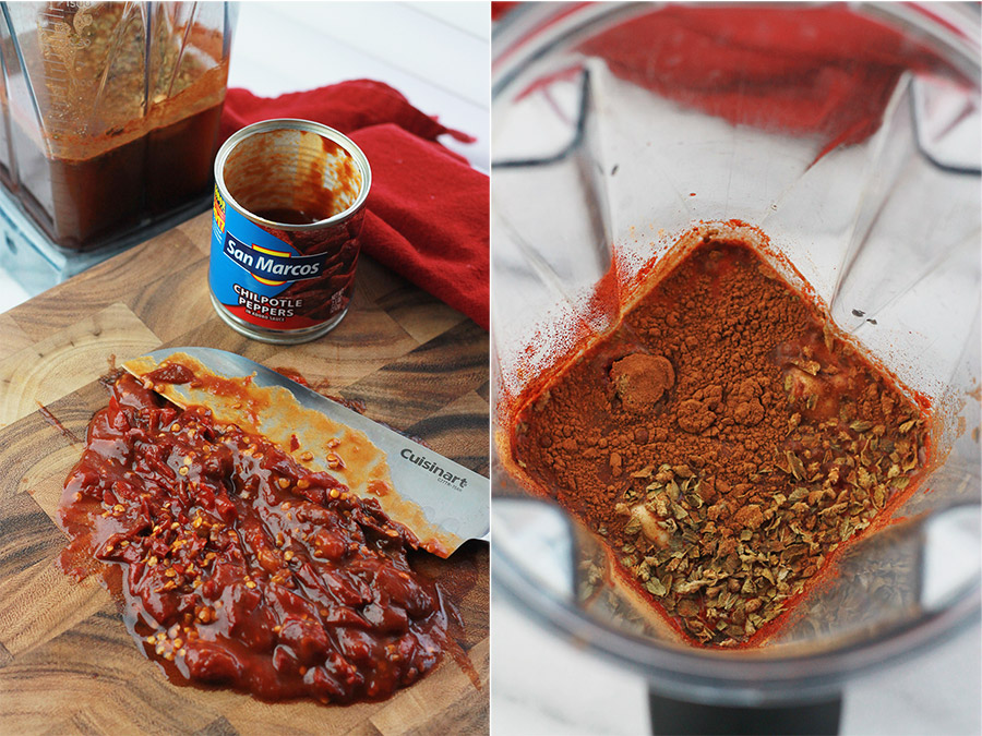 chopped chipotle peppers and red sauce ingredients in blender