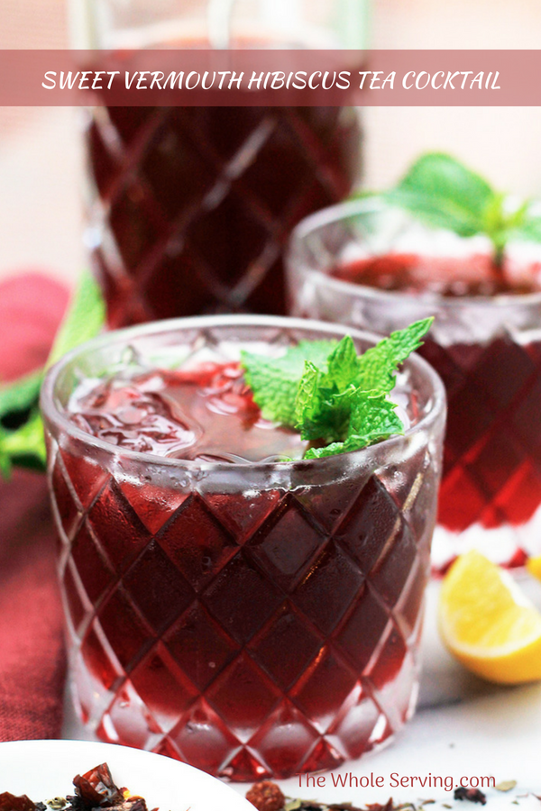 Close-up shot of Sweet Vermouth Hibiscus Tea Cocktail