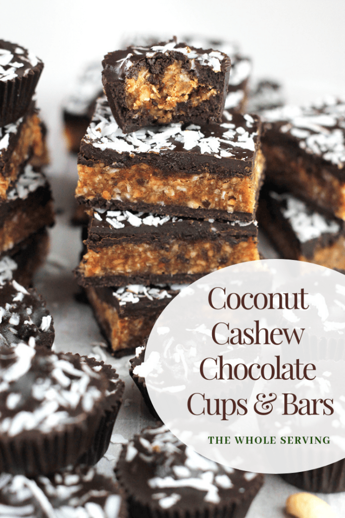 Angled shot of Coconut Cashew Chocolate Cups and a stack of Bars.