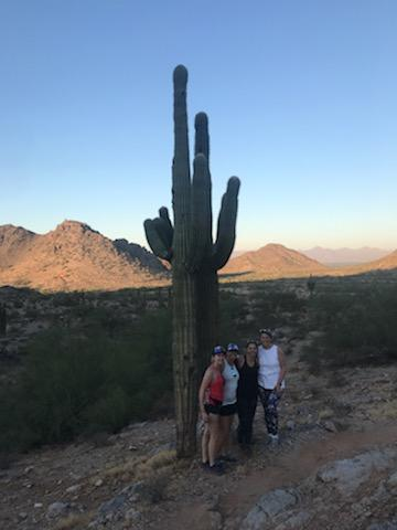 the whole veterinarian seminar owners on a hike with a saguaro cactus