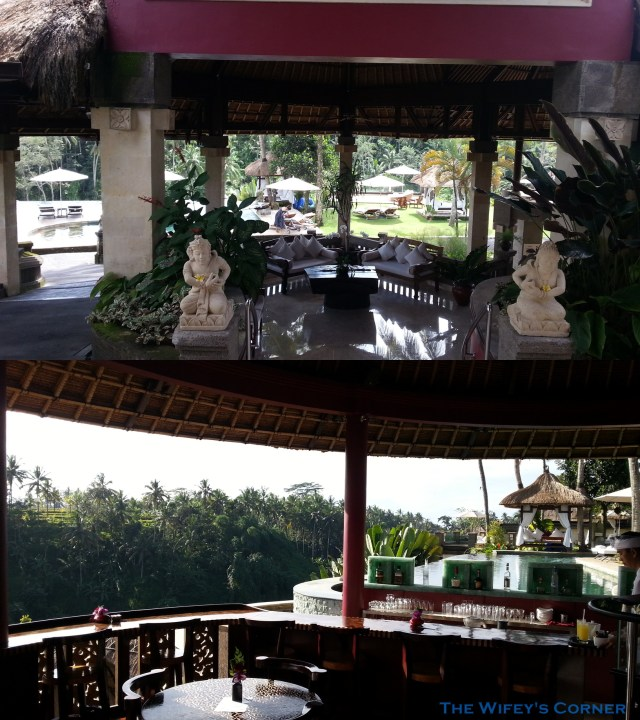Top: view from lobby Bottom: view from the restaurant looking out to main pool