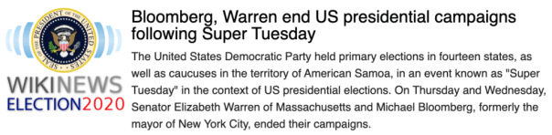 """Wikinews: """"Bloomberg, Warren end US presidential campaigns following Super Tuesday"""""""