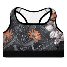 Exotic Floral Padded Sports Bra