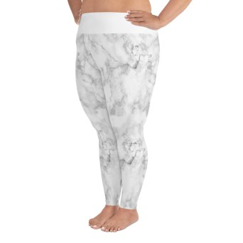 white marble plus size leggings