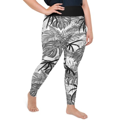 Tropical Leaf Curvy Leggings
