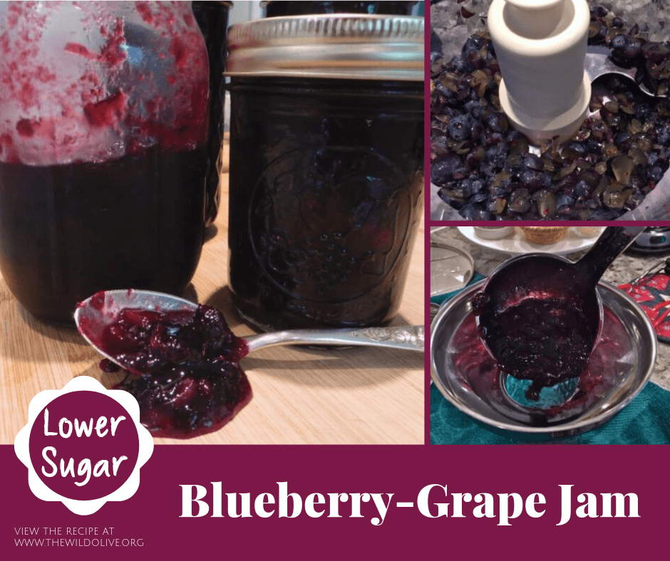Blueberry-Grape Jam is easy to make and has less sugar than most recipes