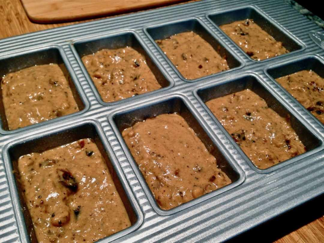 Date Nut Bread batter in a USA Pan mini loaf pan