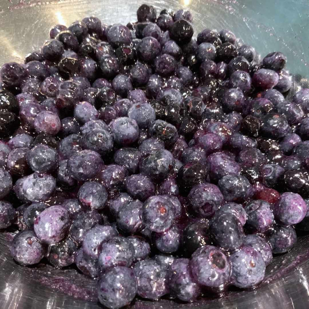 Blueberries tossed with sugar and Instant Clear Jel