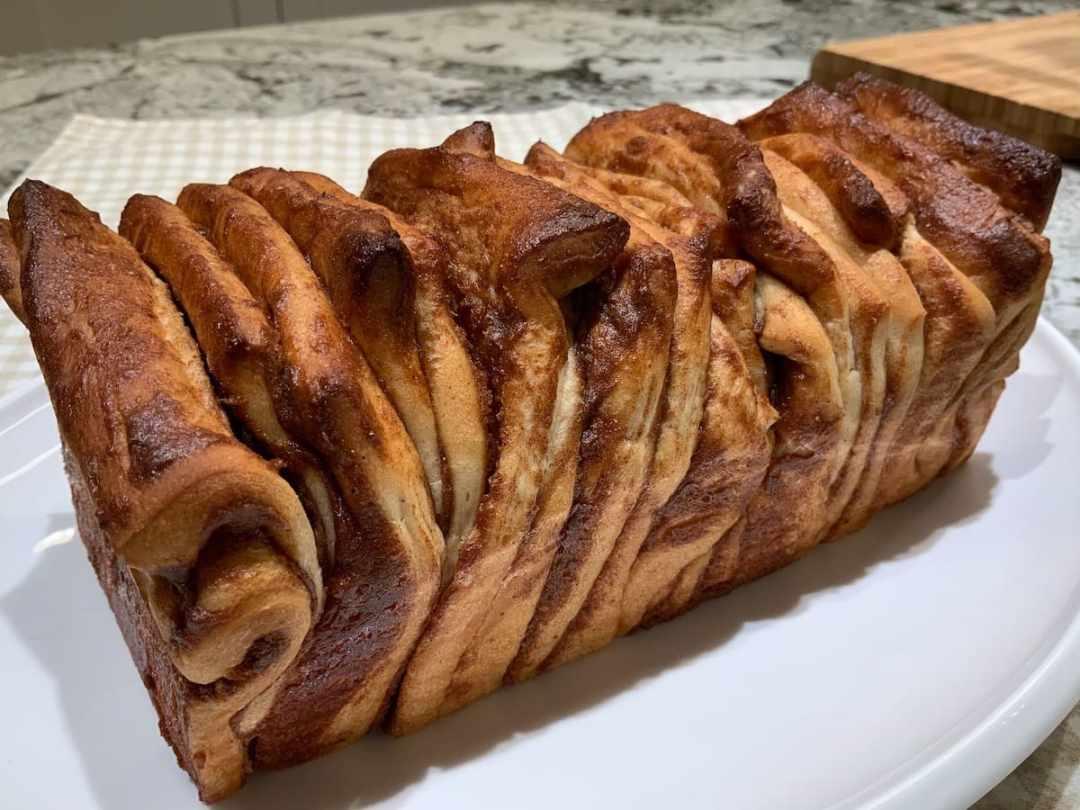 Cinnamon Pull-Apart Bread on platter