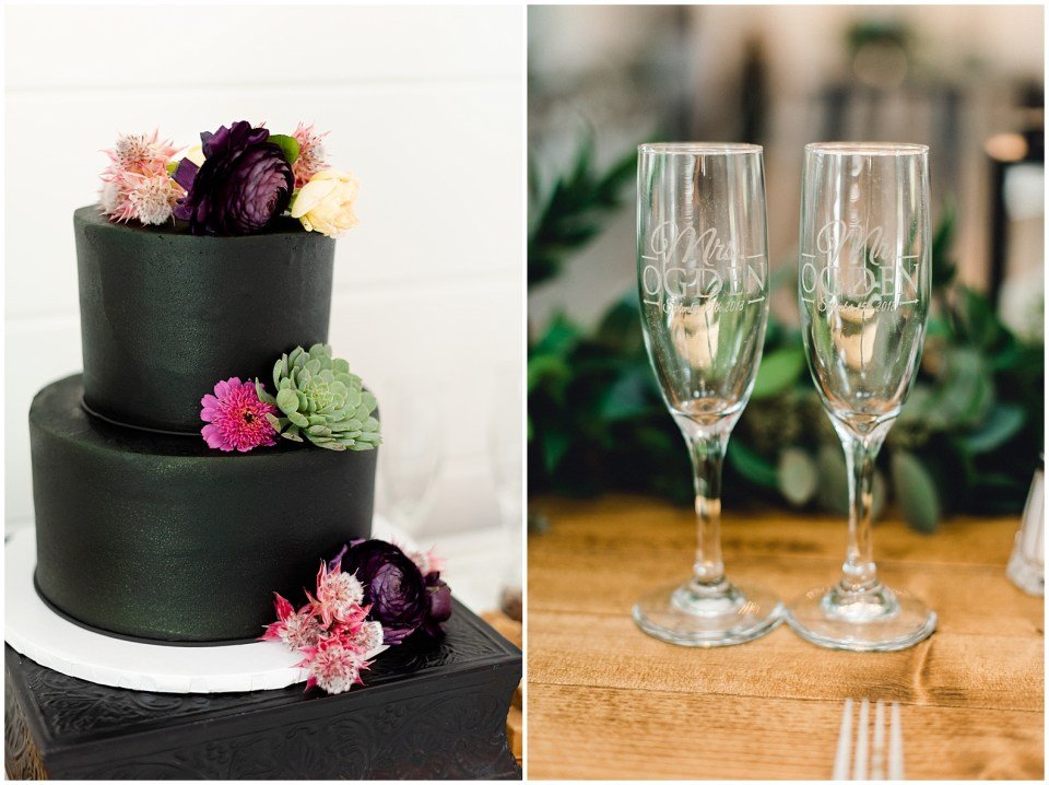 Black wedding cake for an elegant farmhouse wedding at The Wilds wedding and event venue.