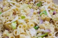 Sweet Hawaiian Macaroni salad with onions, celery, and cabbage
