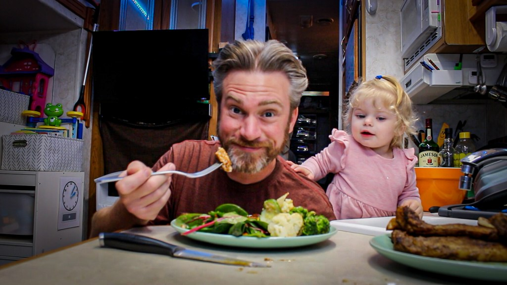 Instant Pot Dave and his Baby Girl eating southwest pork chops in the instant pot