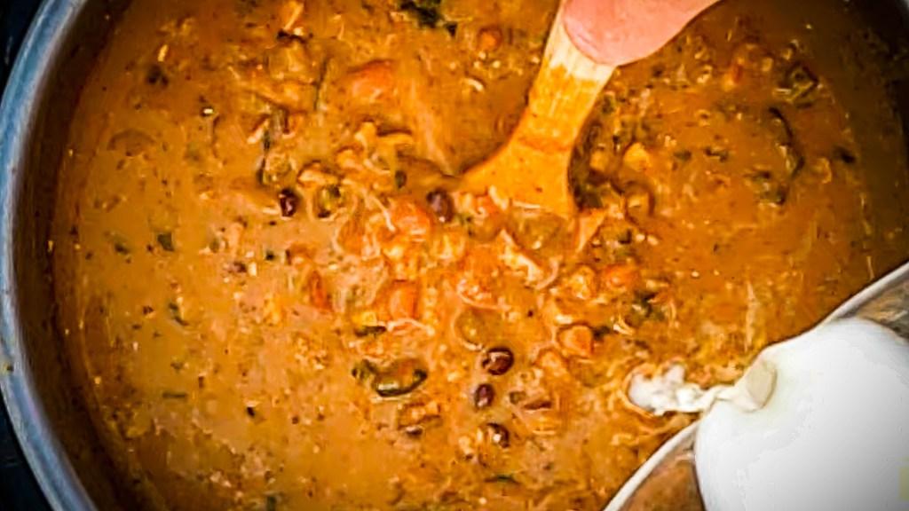 Stir cornstarch slurry (3 Tbsp cornstarch + 4 Tbsp cold water) into the creamy instant pot chicken chili verde.