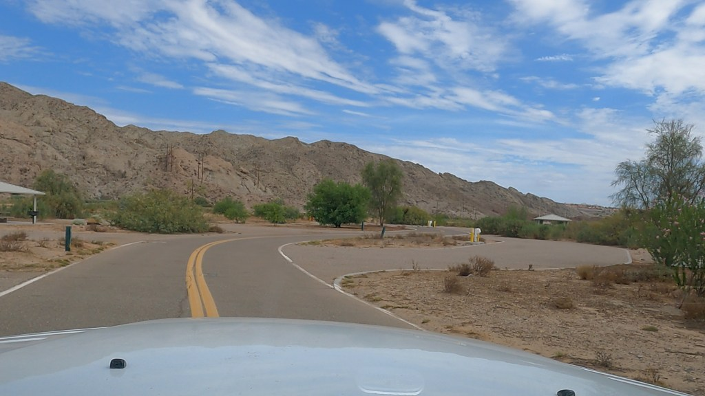 Pulling into spot 17 at Big Bend of the Colorado River Campground