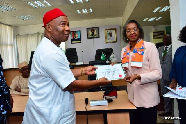 Inec Issues Certificate Of Return To Sen. Hope Uzodinma As Imo Governor