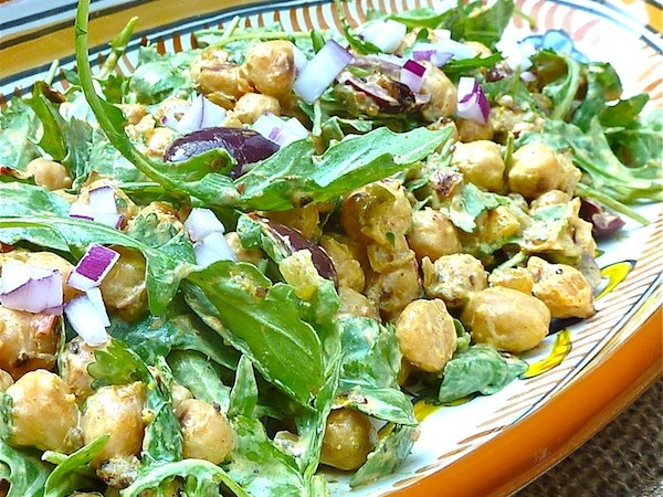Pan-Fried Chickpea Salad & Curried Yogurt
