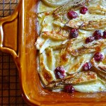 comforting, casserole of braised endive and fennel, cooking for a crowd