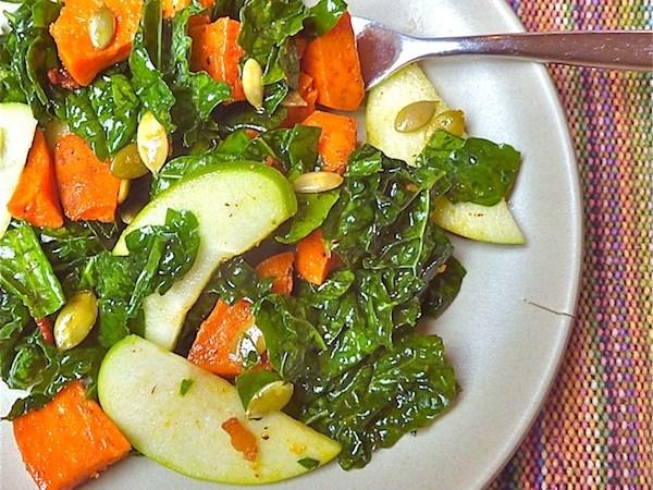 Kale-Sweet Potato Salad & Cider Dressing
