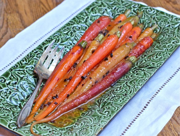 Satsuma Ginger Glazed Carrots with Cocoa Nibs