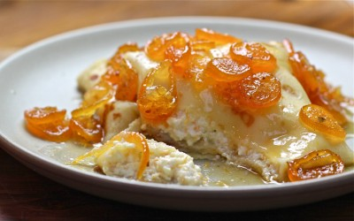 Orange Ricotta Crepes & Kumquat Compote
