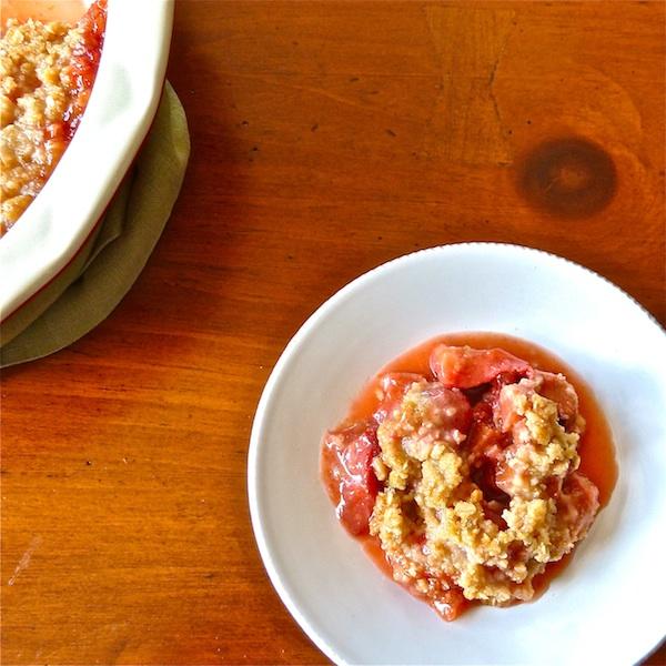 Strawberry Rhubarb Crisp with Cardamom - The Wimpy Vegetarian