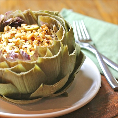 Artichokes Filled with Citrus-Raisin Couscous