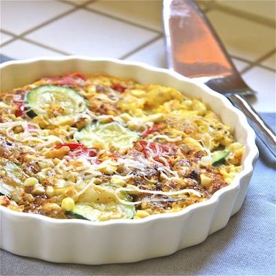 corn zuke and tomato frittata : The Wimpy Vegetarian