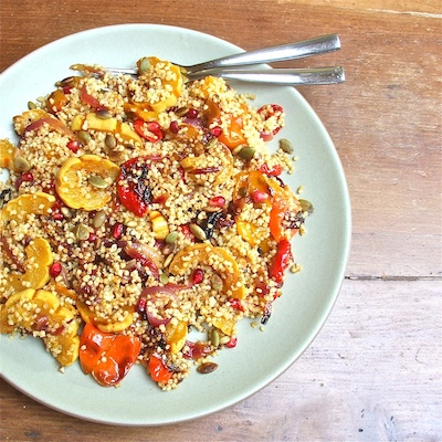 Roasted Squash with Pomegranate and Pepitas Tossed in Quinoa : The Wimpy Vegetarian