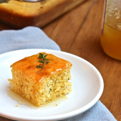 Easy cornbread with yogurt honey and thyme