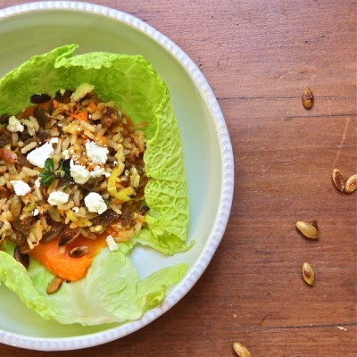 cabbage cups filled with sweet potato puree, rice, leeks, and pepitas recipe