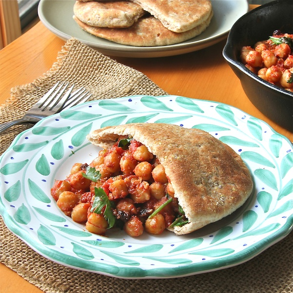 legumes, vegetarian entree, vegan, moroccan chickpea in pita pockets recipe
